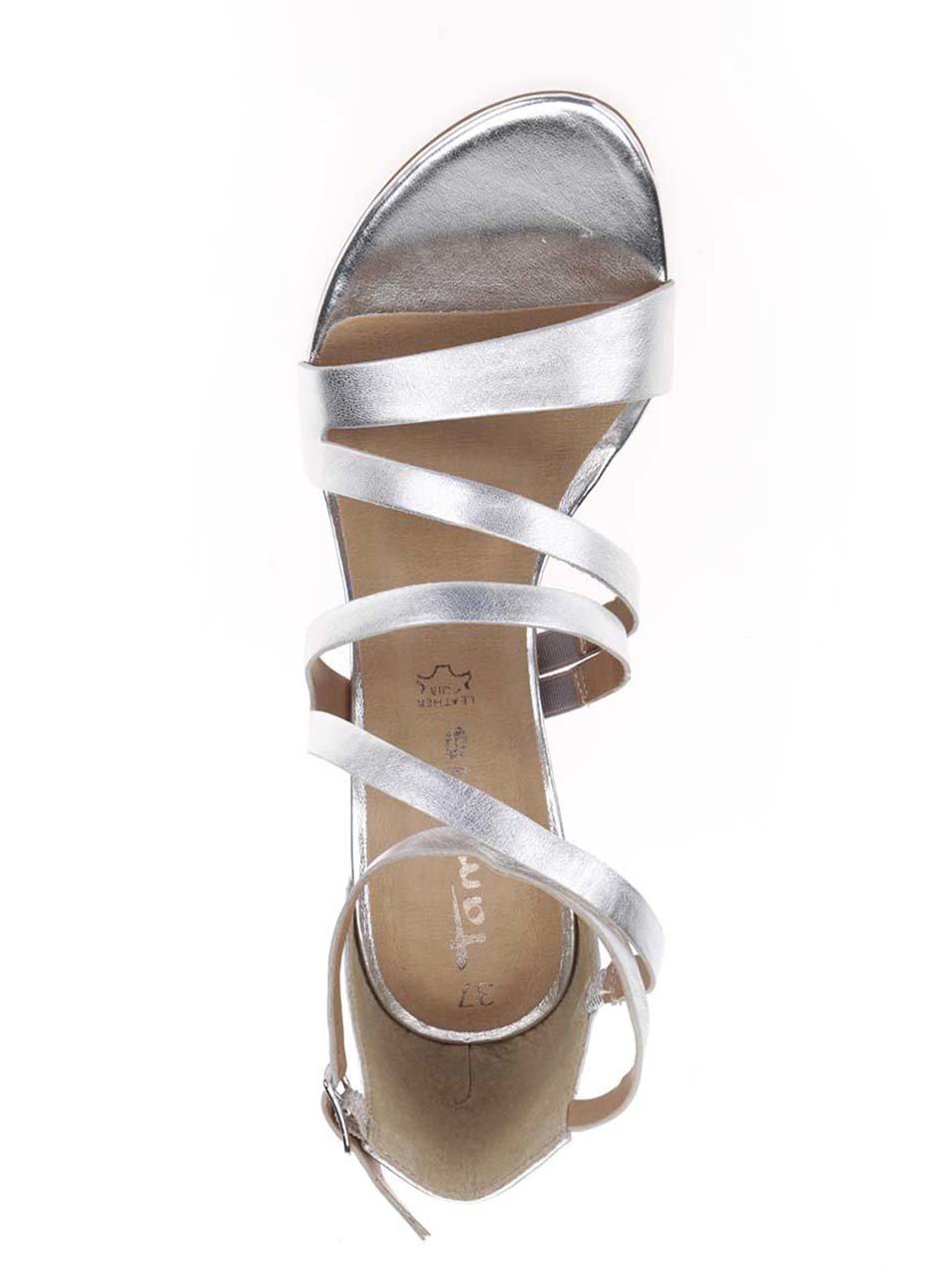 ca2ca92741b Kožené páskové sandálky ve stříbrné barvě na podpatku Tamaris ...