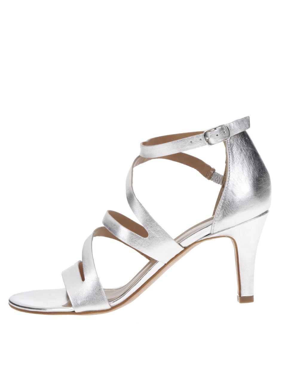 277255a24478 Kožené remienkové sandále v striebornej farbe na podpätku Tamaris ...