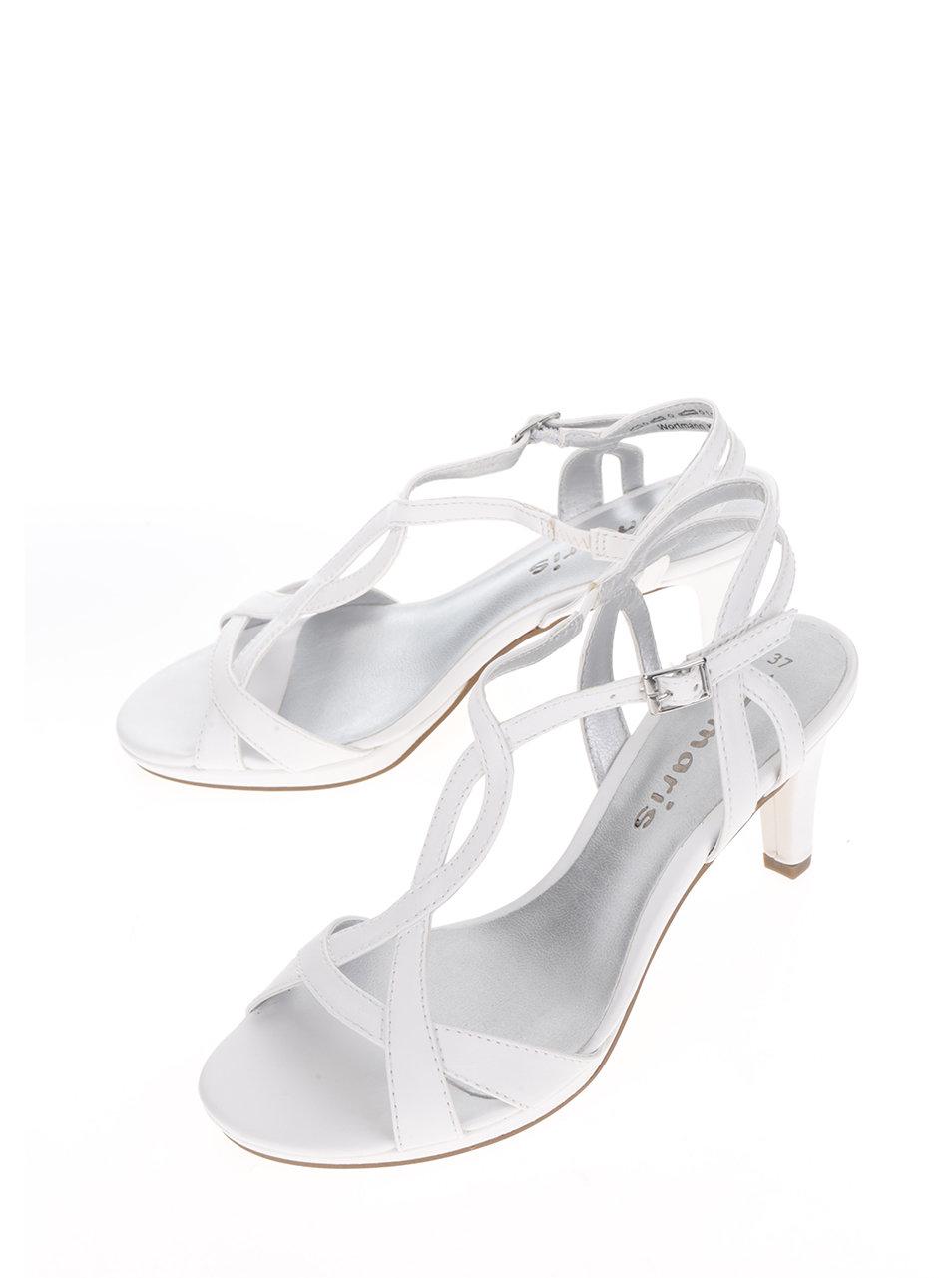 01574eccc5e4 Biele remienkové sandále na podpätku Tamaris ...