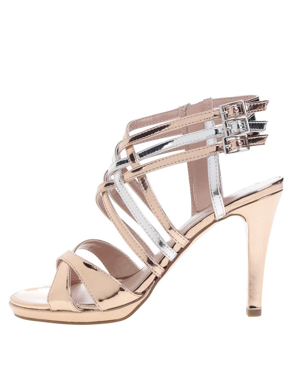 99aa9aa03131 Remienkové sandále na podpätku v strieborno-zlatej farbe Tamaris ...