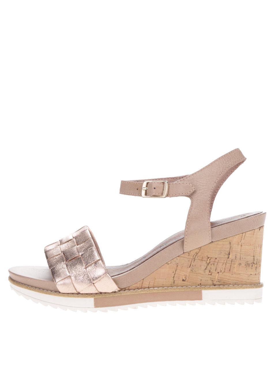 fc2dffad4ffed Kožené sandále v ružovozlatej farbe na korkovej platforme Tamaris ...