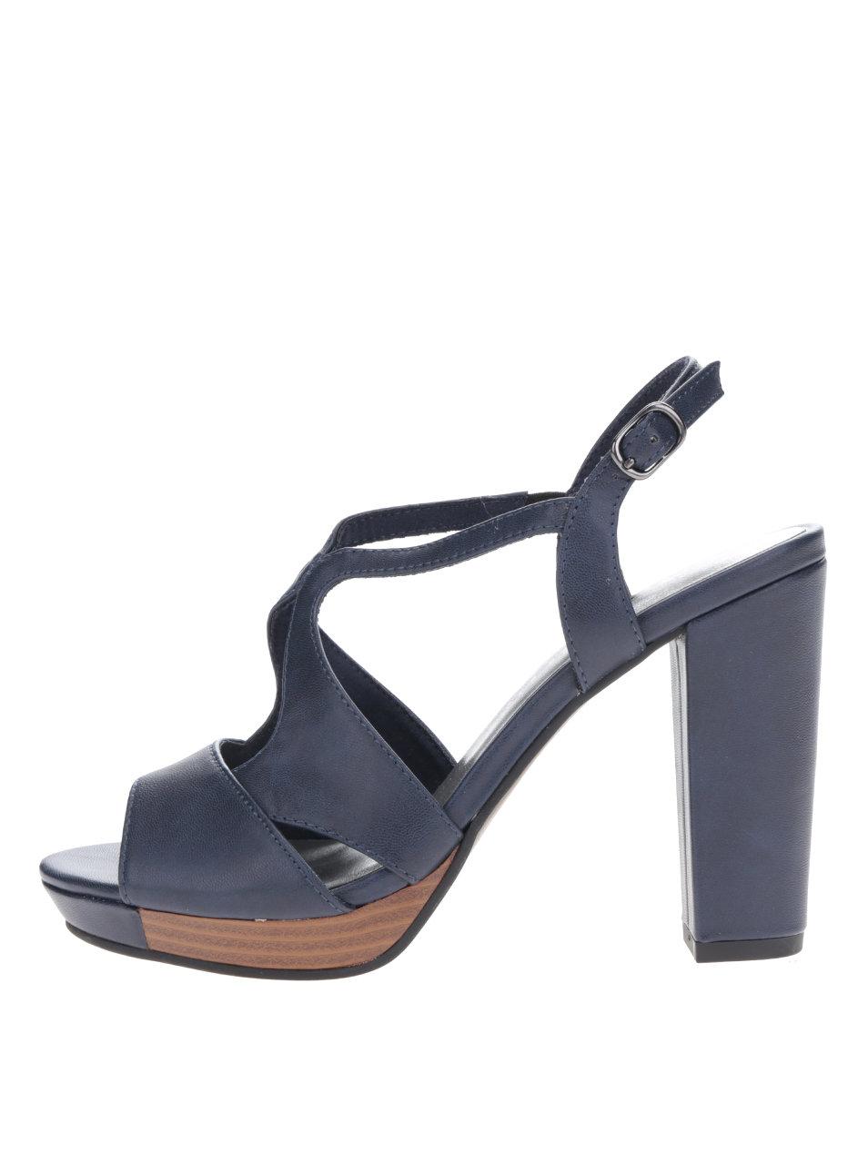 Tmavomodré sandále na vysokom podpätku Tamaris ... f835953198