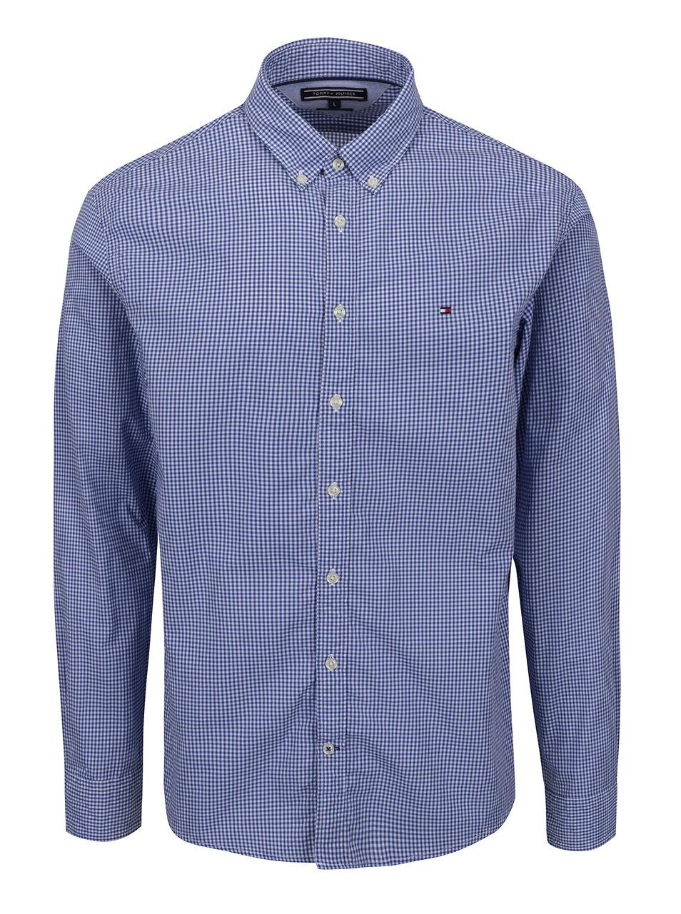 5b80ff7c7b50 Modro-biela pánska kockovaná košeľa Tommy Hilfiger ...