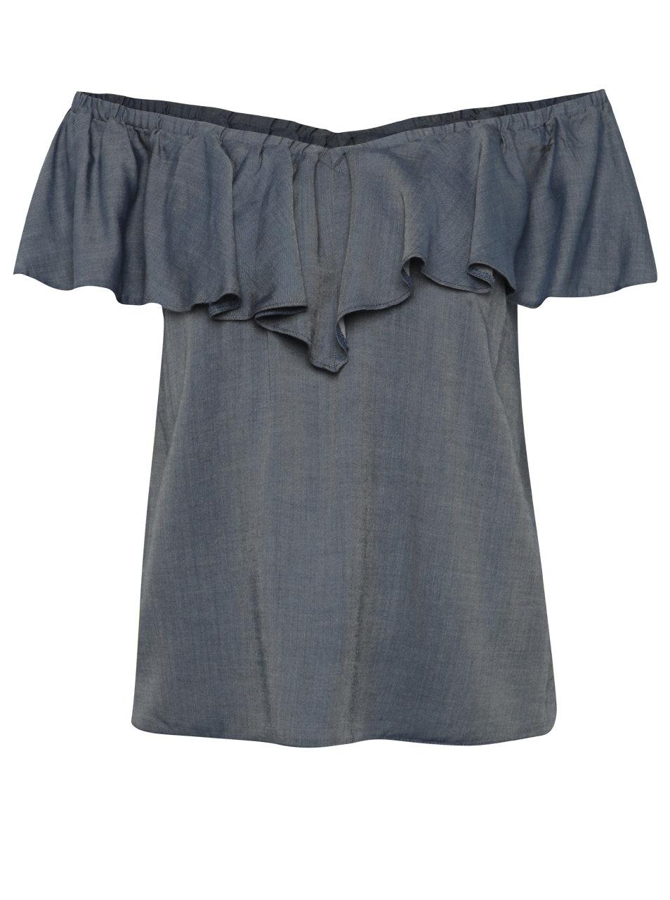 Modrá džínová halenka s odhalenými rameny Miss Selfridge ... 9b4132c836