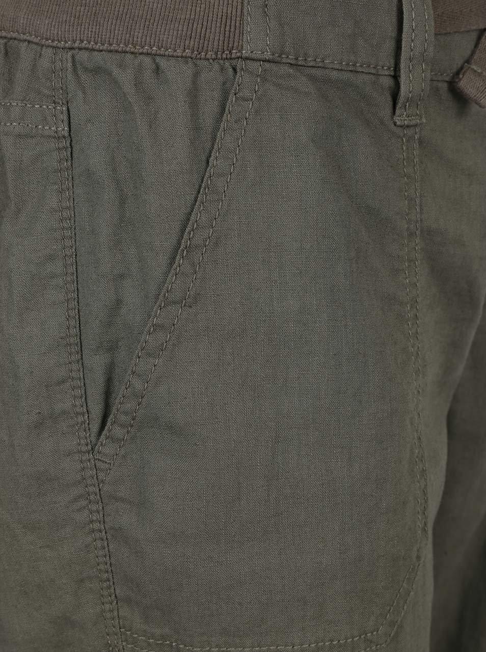 4c5020cfa0f Khaki dámské volné lněné kalhoty s kapsami QS by s.Oliver