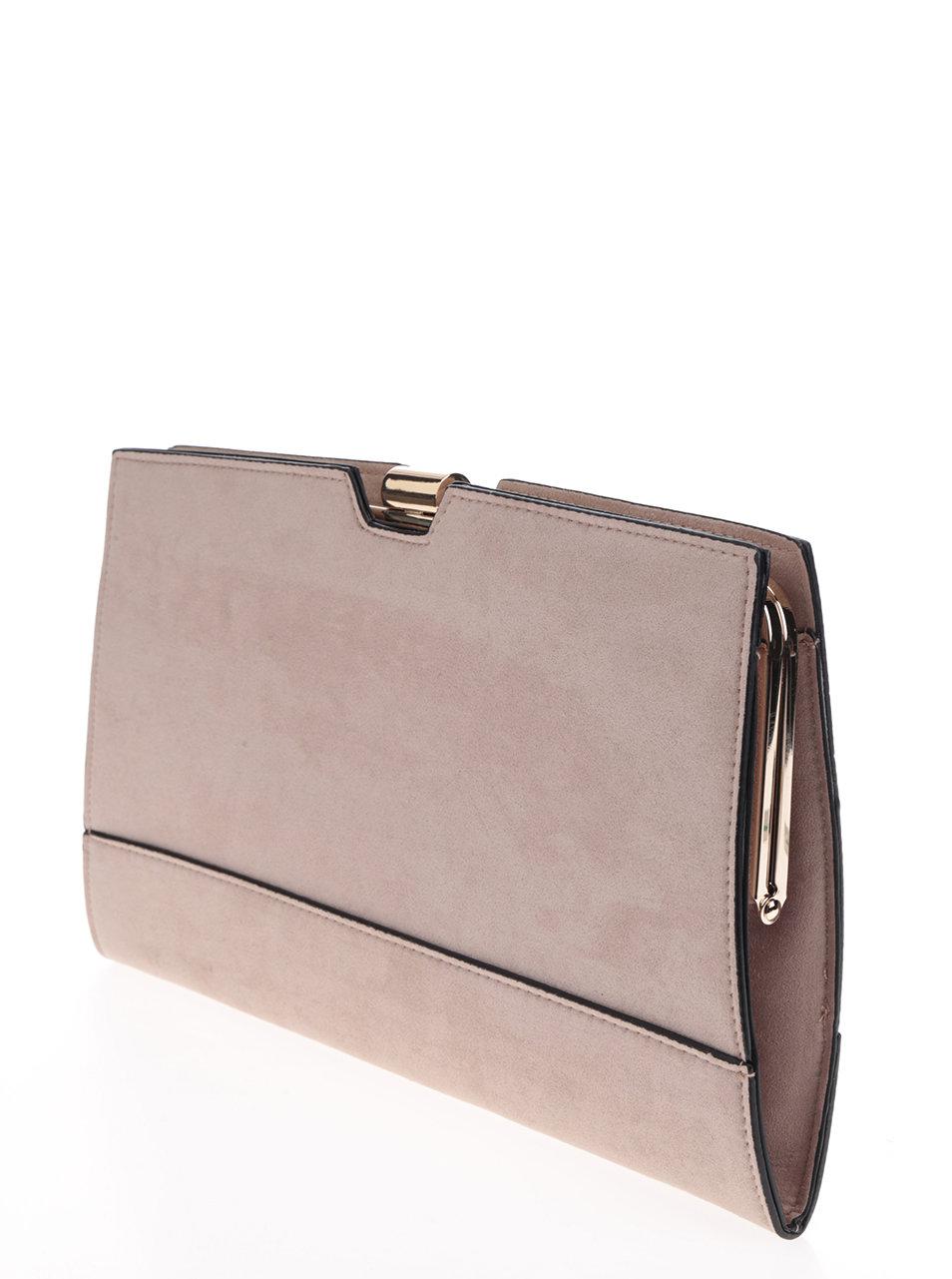 Béžová listová kabelka so sponou v zlatej farbe Dorothy Perkins ... 4d54e86f083