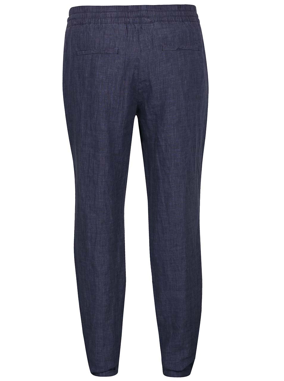 1a9adbd13886 Tmavomodré dámske ľanové nohavice s.Oliver