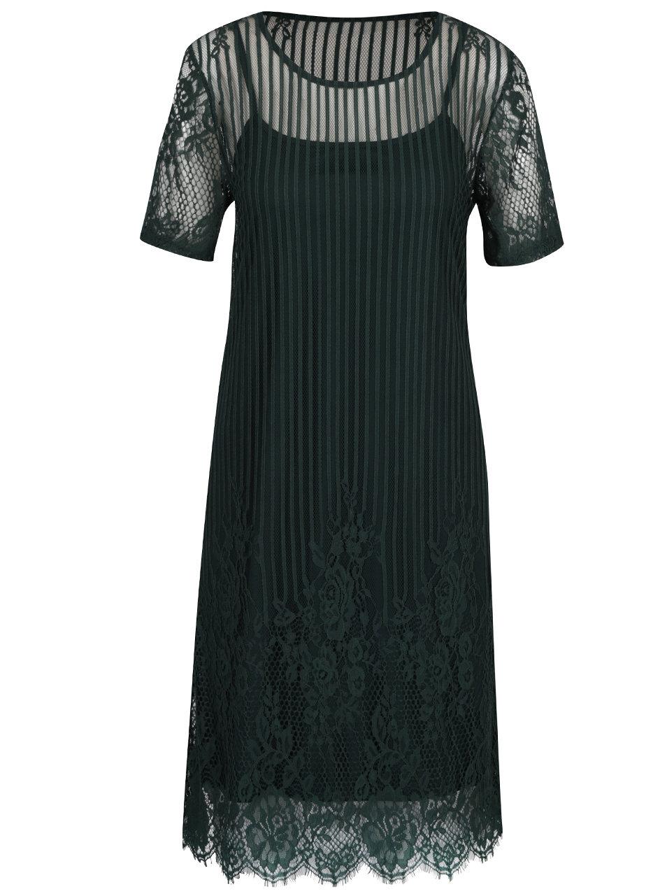 Tmavozelené čipkované šaty 2v1 VILA Maggy ... bb95e794b8d