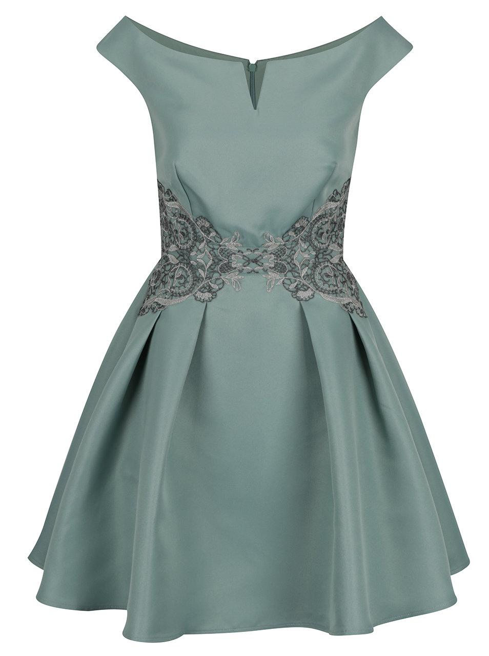 Světle zelené šaty s lodičkovým výstřihem a krajkovým zdobením Little  Mistress dc1cf4ce3b5