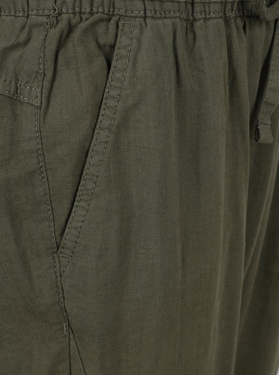 Kaki dámske voľné ľanové nohavice s pružným pásom QS by s.Oliver ... 74d13c6ada8