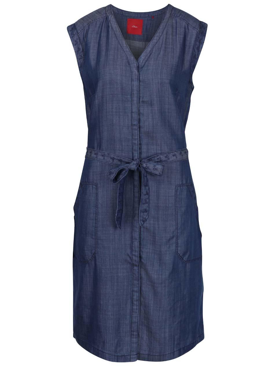 Modré dámské volné džínové šaty s páskem s.Oliver  0d432441fbd