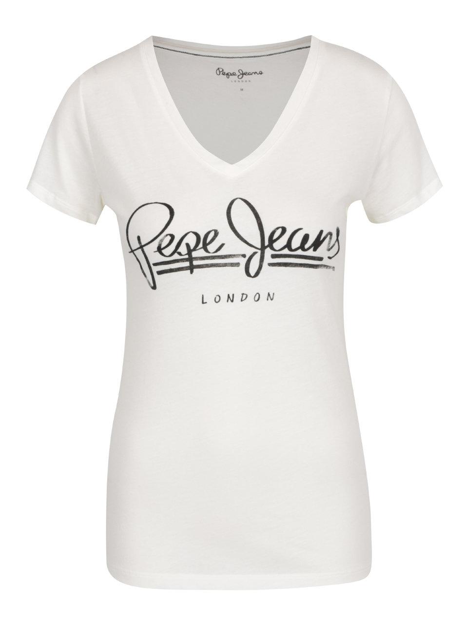 9ecd680448e8 Krémové dámske tričko s potlačou Pepe Jeans Brenda ...