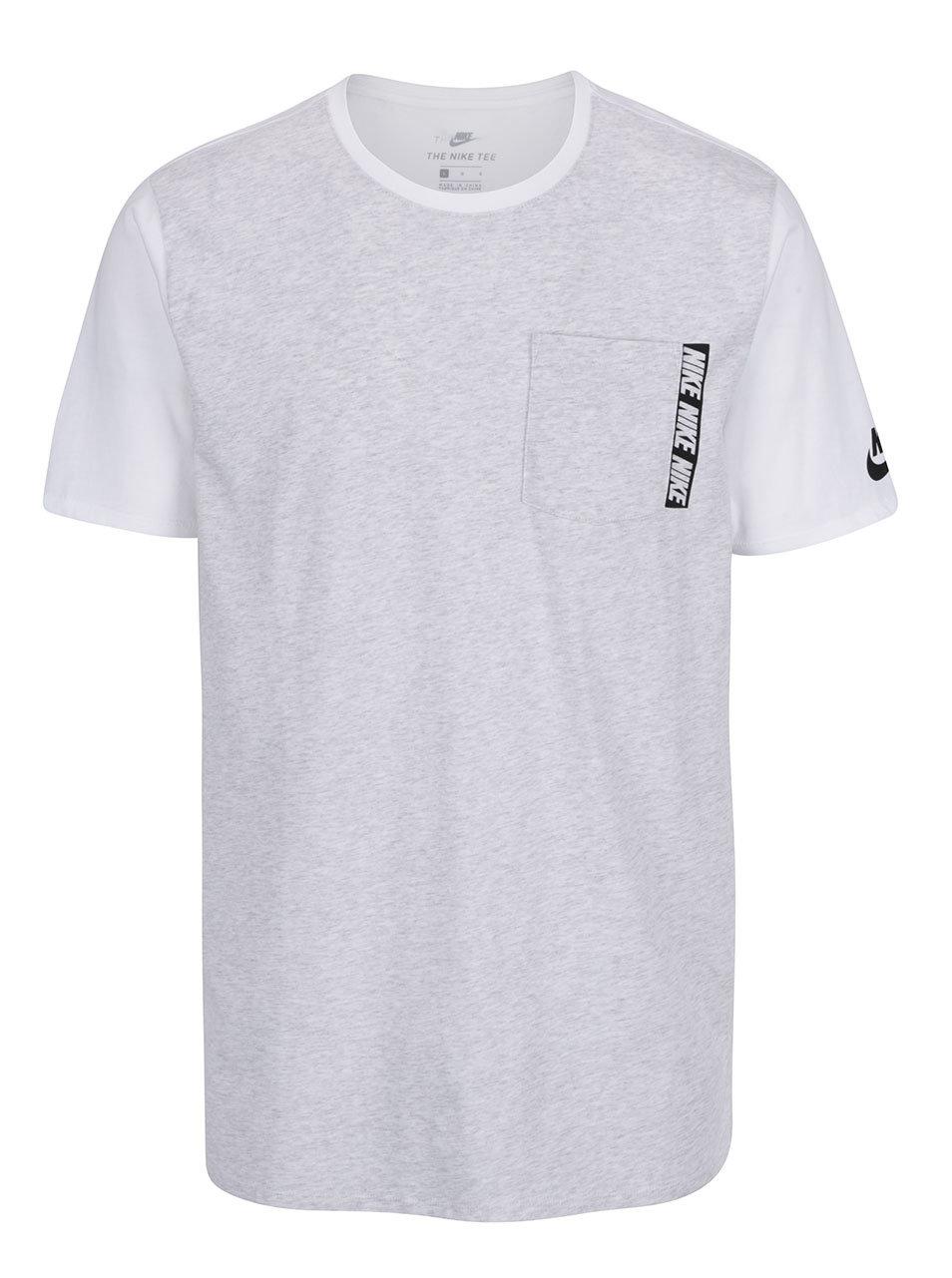 Bílo-šedé pánské dlouhé triko s náprsní kapsou Nike Tee ... 0d09d95a71