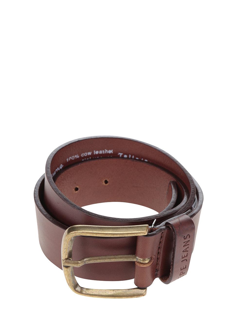 Hnědý pánský kožený pásek Pepe Jeans ... e307c976a6