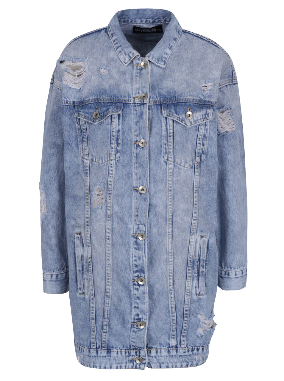 900238c8307c Modrá dlouhá džínová bunda s potrhaným efektem Haily´s Sinaly ...