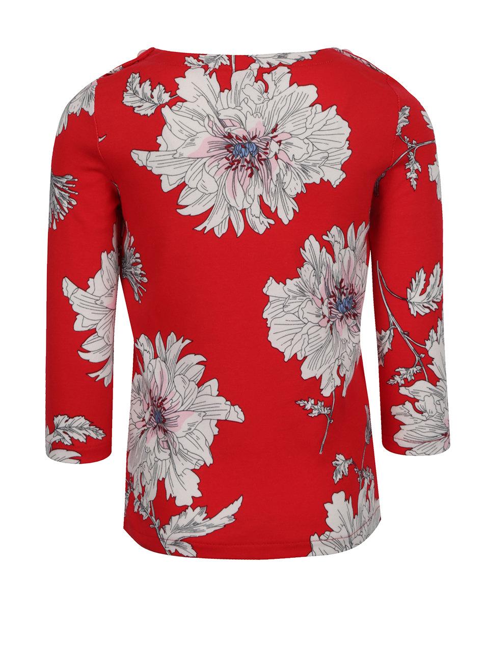 aeefe1c21de2 Červené kvetované dievčenské tričko s dlhým rukávom Tom Joule ...