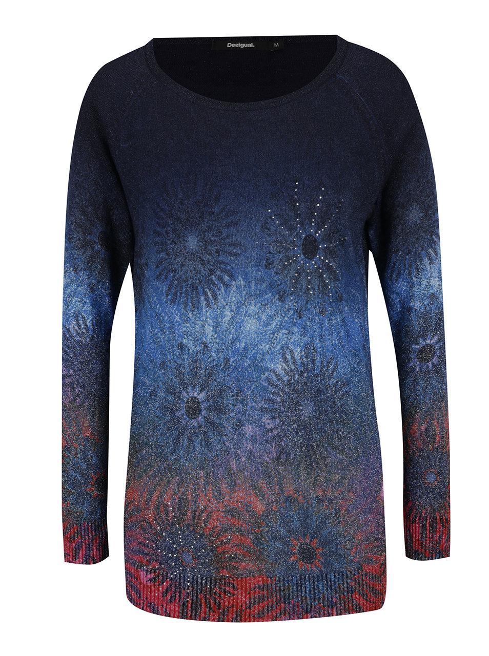 Tmavě modrý květovaný svetr Desigual Basic Carlin ... aa96e63d796