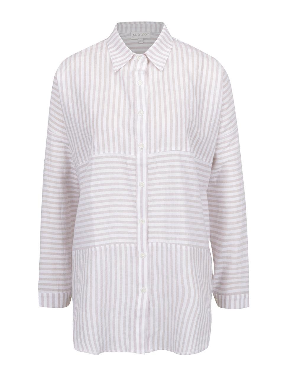 71e38137d7db Krémovo-béžová pruhovaná voľná košeľa Apricot ...