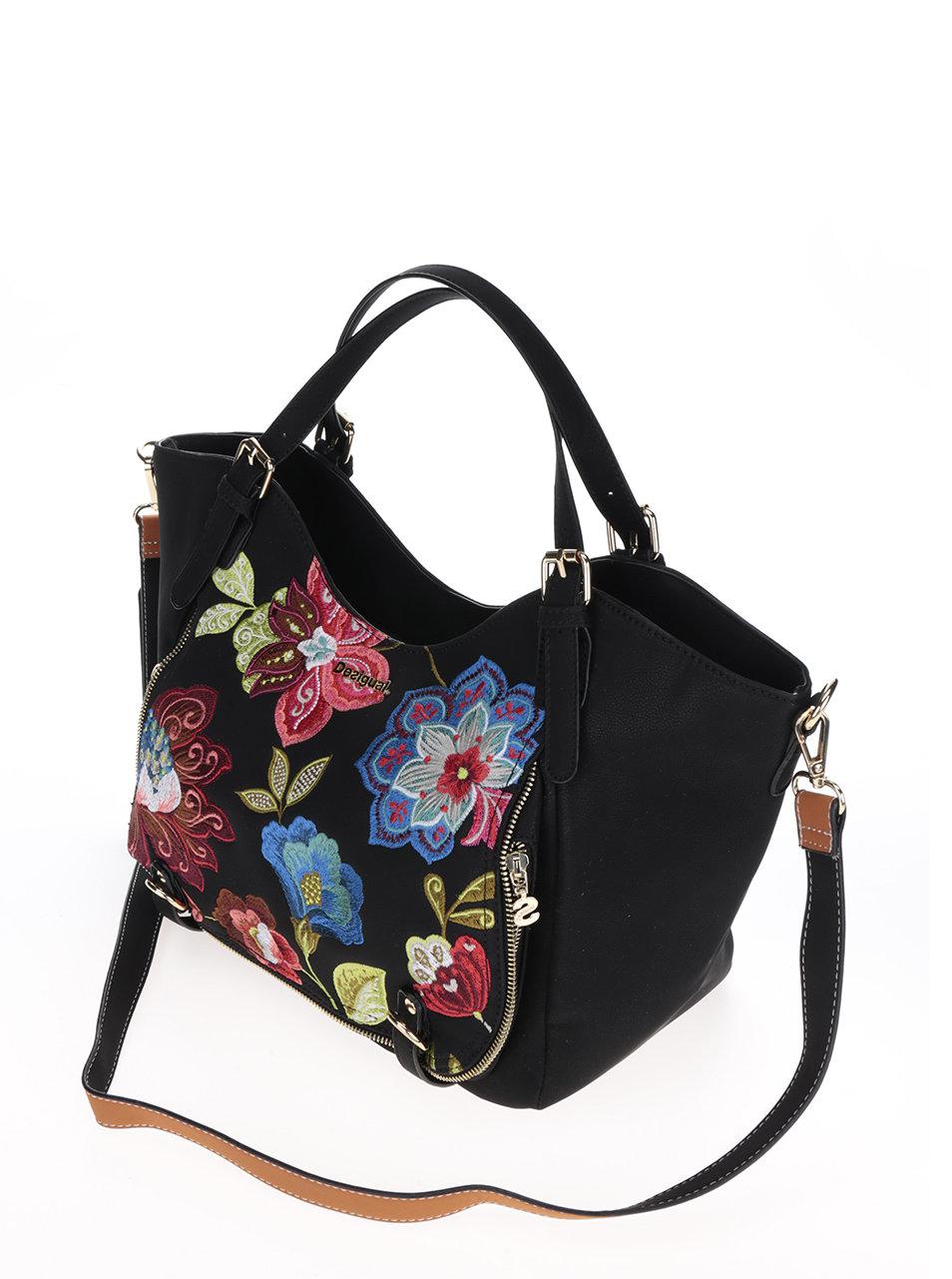 Černá kabelka s výšivkami květin Desigual Rotterdam Caribou ... b23179c5505