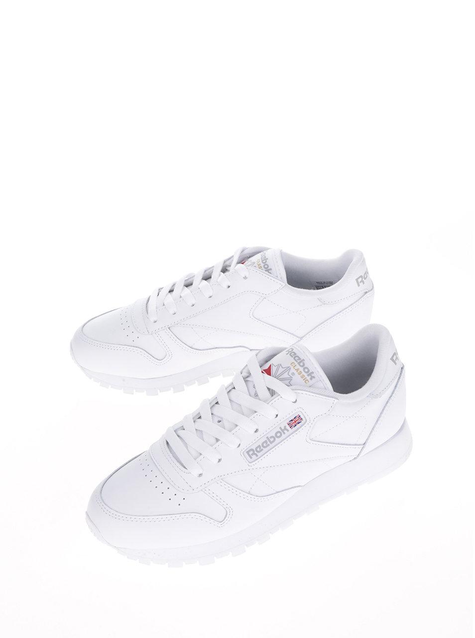 b034c66a44 Biele dámske kožené tenisky s tvarovanou podrážkou Reebok Classic ...