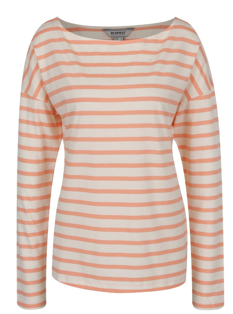 c0205d8fbd0f Oranžovo-krémové dámske pruhované tričko s lodičkovým výstrihom BUSHMAN  Sailora ...