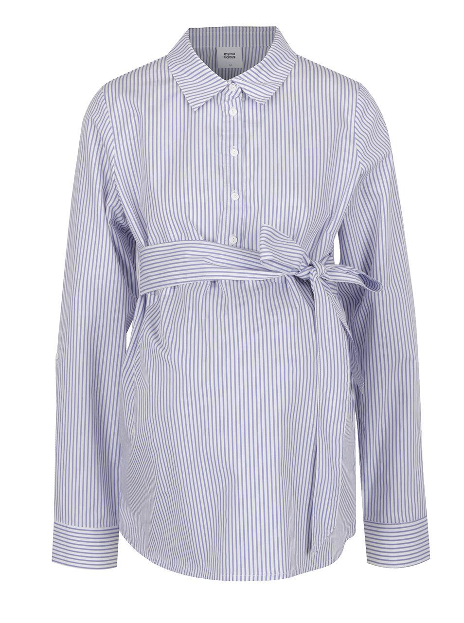 edb8ad8ccf5 Modro-krémová pruhovaná těhotenská košile s mašlí Mama.licious Lenna ...