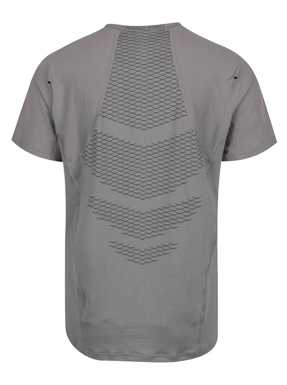 4fbd1be42708 Sivé pánske funkčné tričko s krátkym rukávom Nike ...