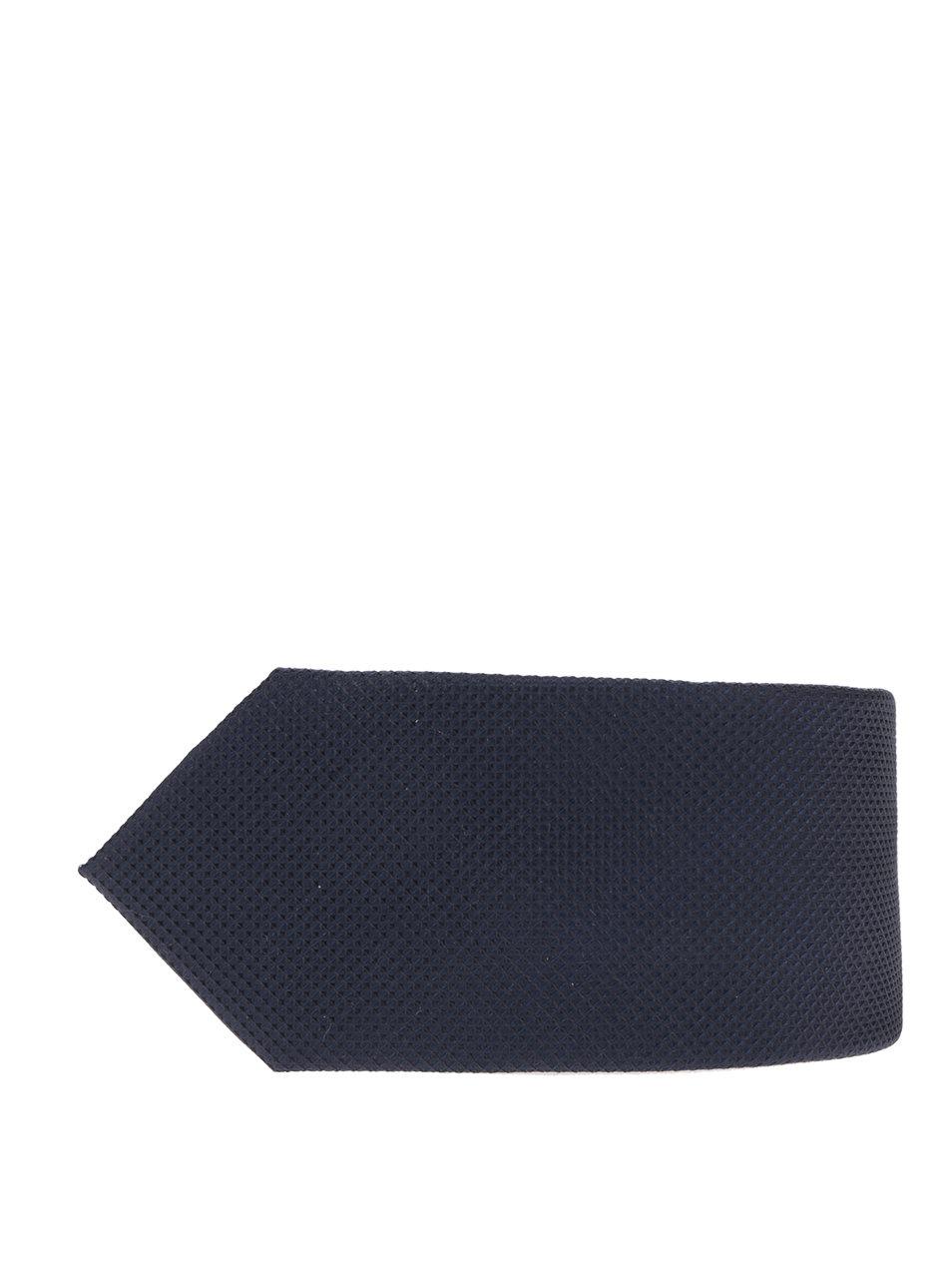 Tmavě modrá hedvábná kravata s jemným vzorem Jack & Jones Premium Colombia