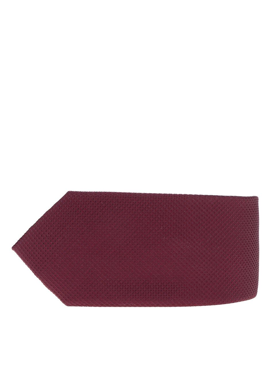 Vínová hedvábná kravata s jemným vzorem Jack & Jones Premium Colombia