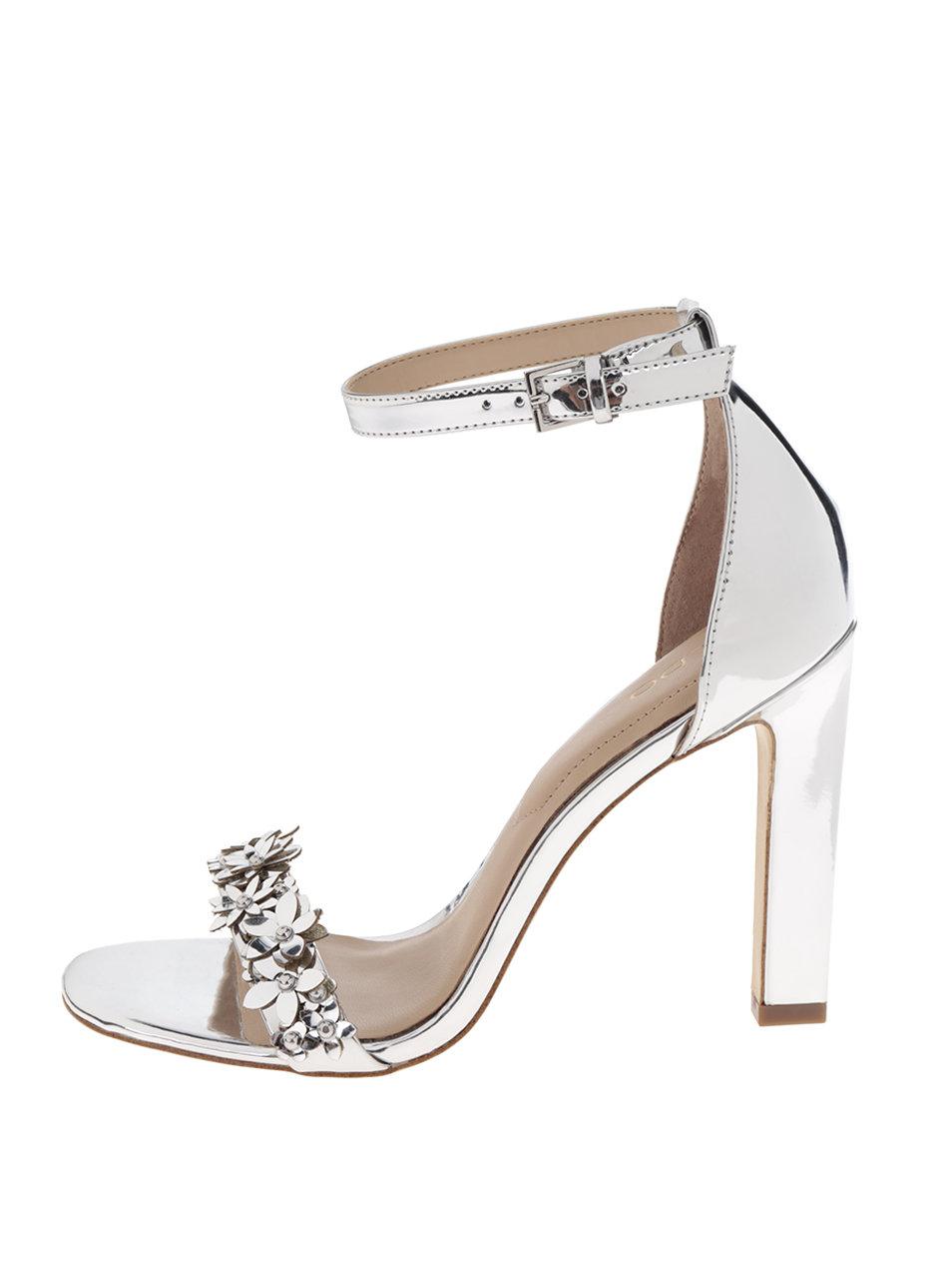 bd81a71a8e98 Sandále v striebornej farbe na vysokom podpätku ALDO Milaa ...