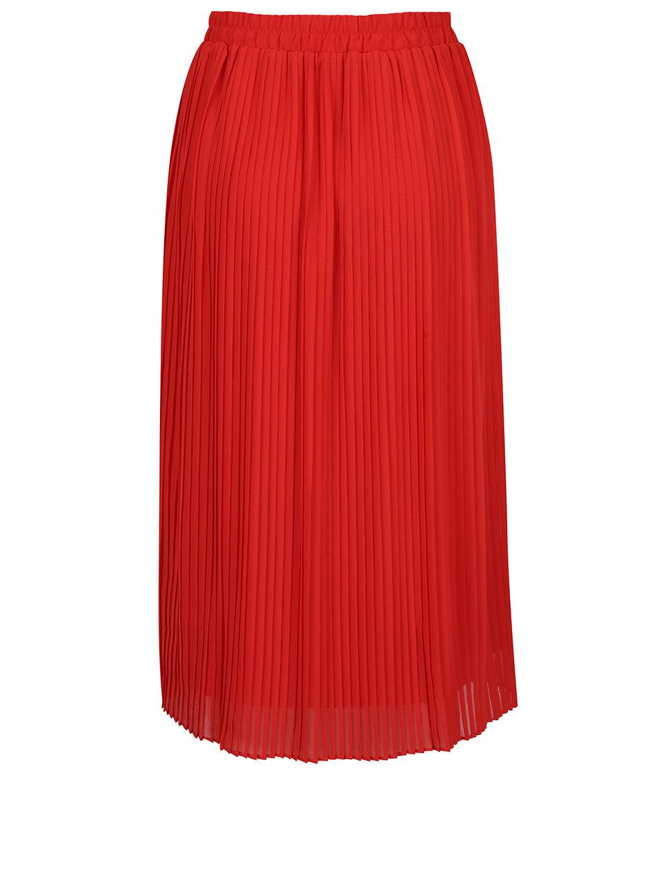 9bd68f78105f Červená plisovaná midi sukně VERO MODA Pleta ...