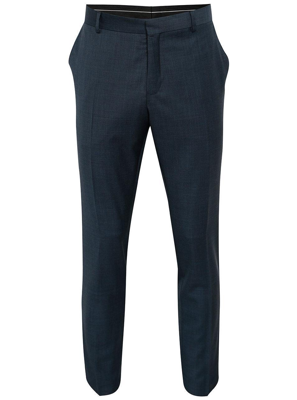 Tmavě modré vlněné oblekové kalhoty Selected Homme Done