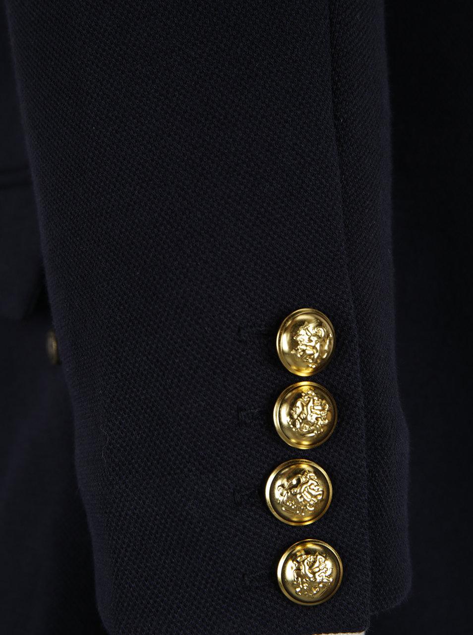 Modré dámske sako s gombíkom v zlatej farbe Garcia Jeans ... c1ebf2d0476