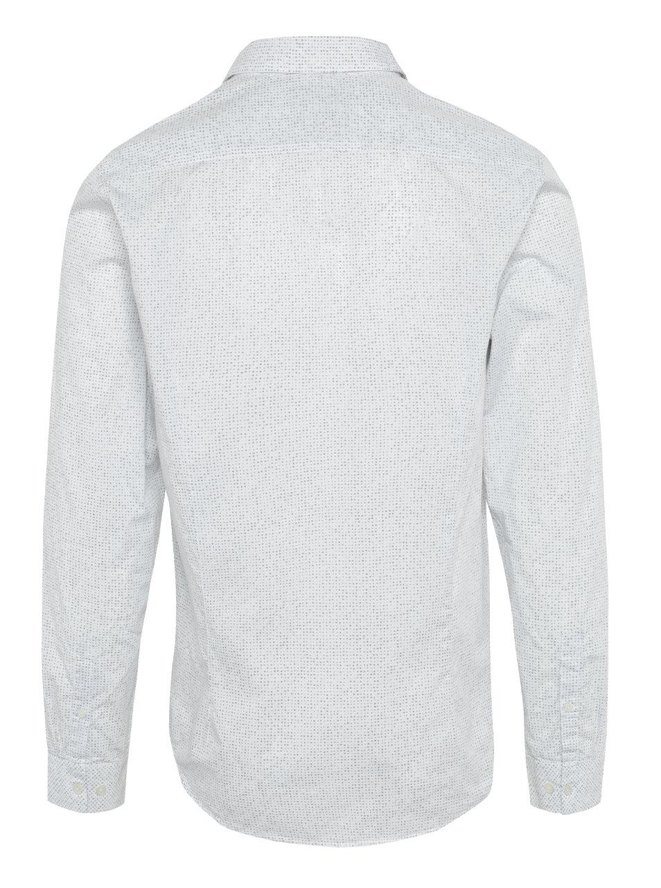 9f9c9502f7e0 Biela pánska vzorovaná košeľa s vreckom Garcia Jeans ...