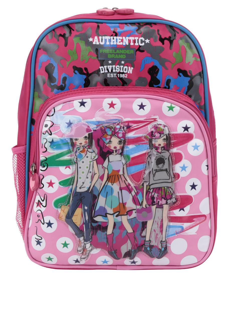 39c905d1ea8 Růžový holčičí vzorovaný batoh s 3D potiskem Freelander Authentic Single ...
