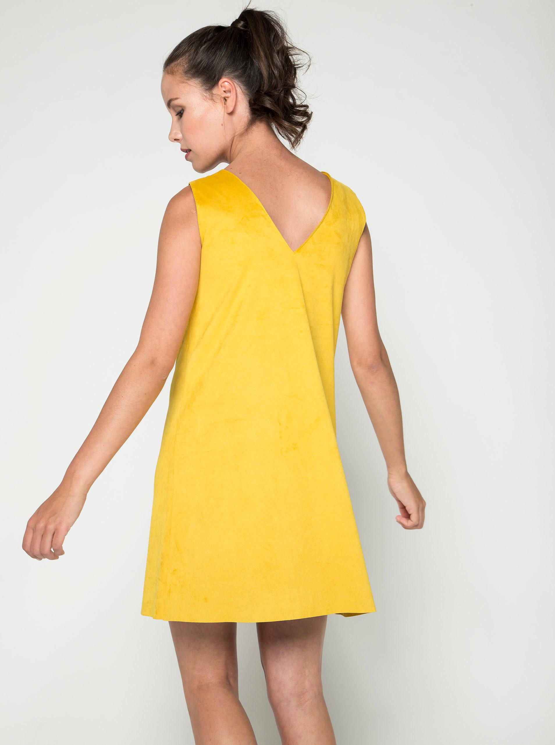 Žluté volné šaty v semišové úpravě VILA Then ... cca0ece0c4