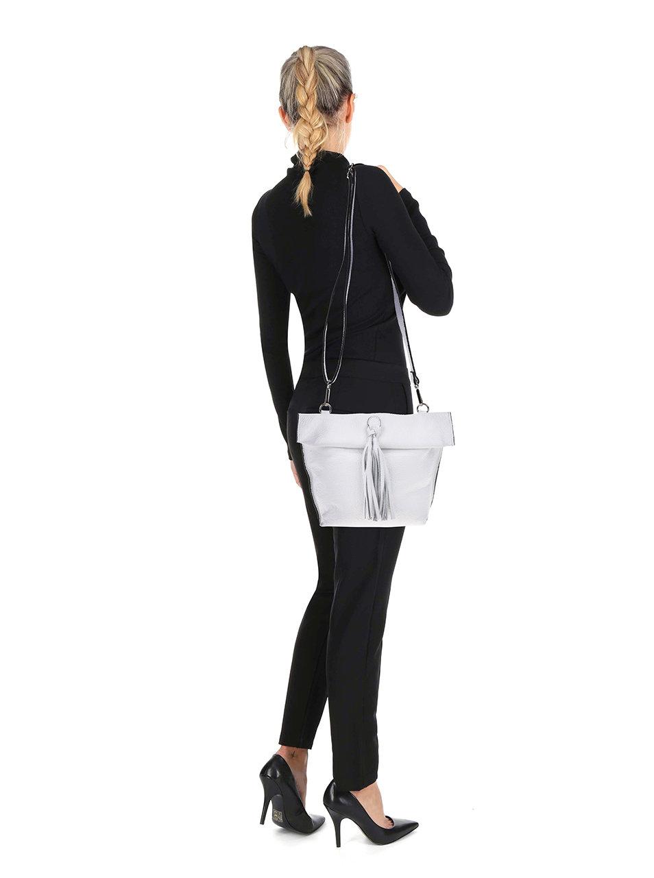 Biela kožená crossbody kabelka so strapcom ZOOT ... d98bf7594ca