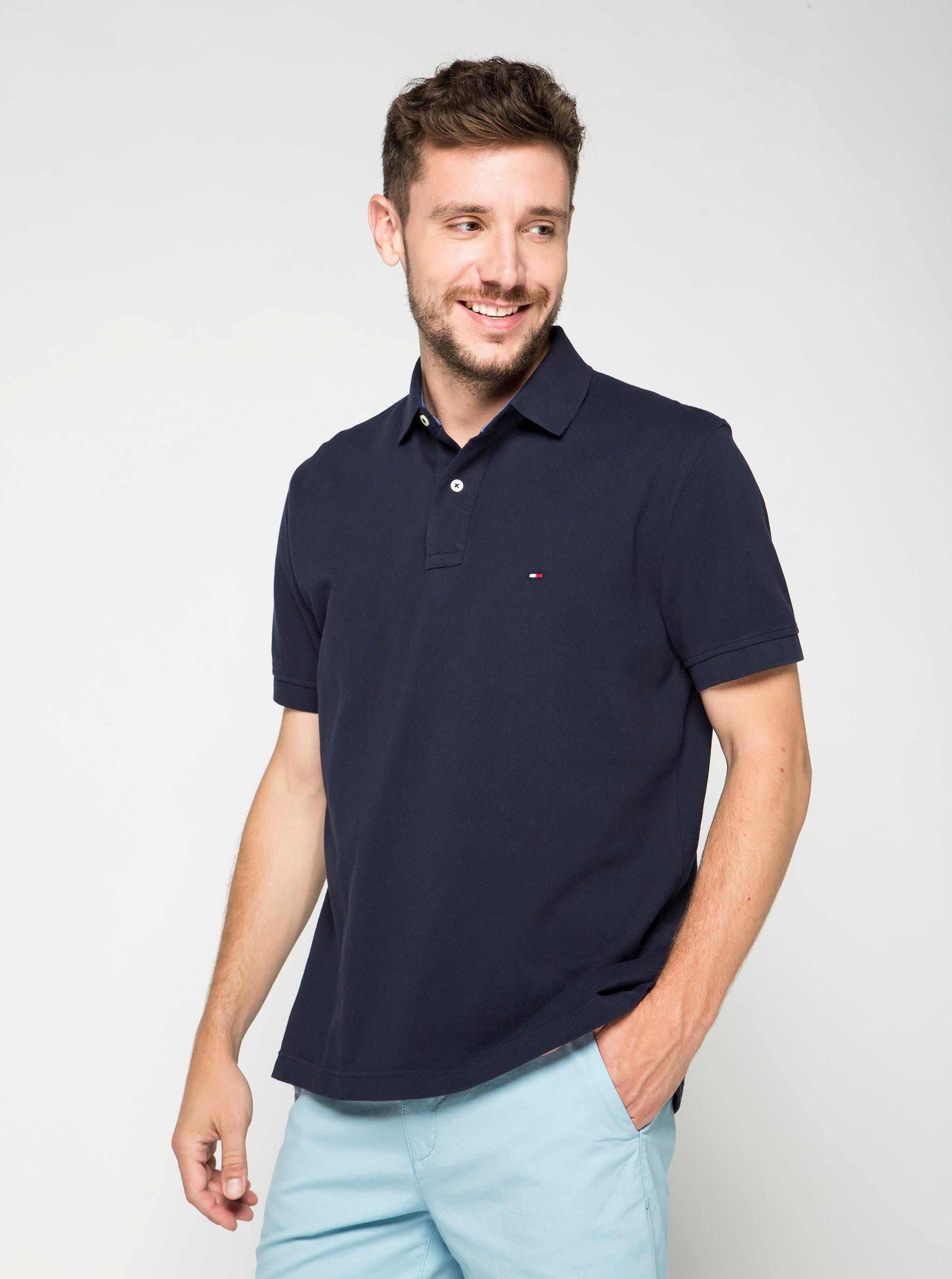 d0f3b2b9cf Tmavě modré pánské polo tričko Tommy Hilfiger ...