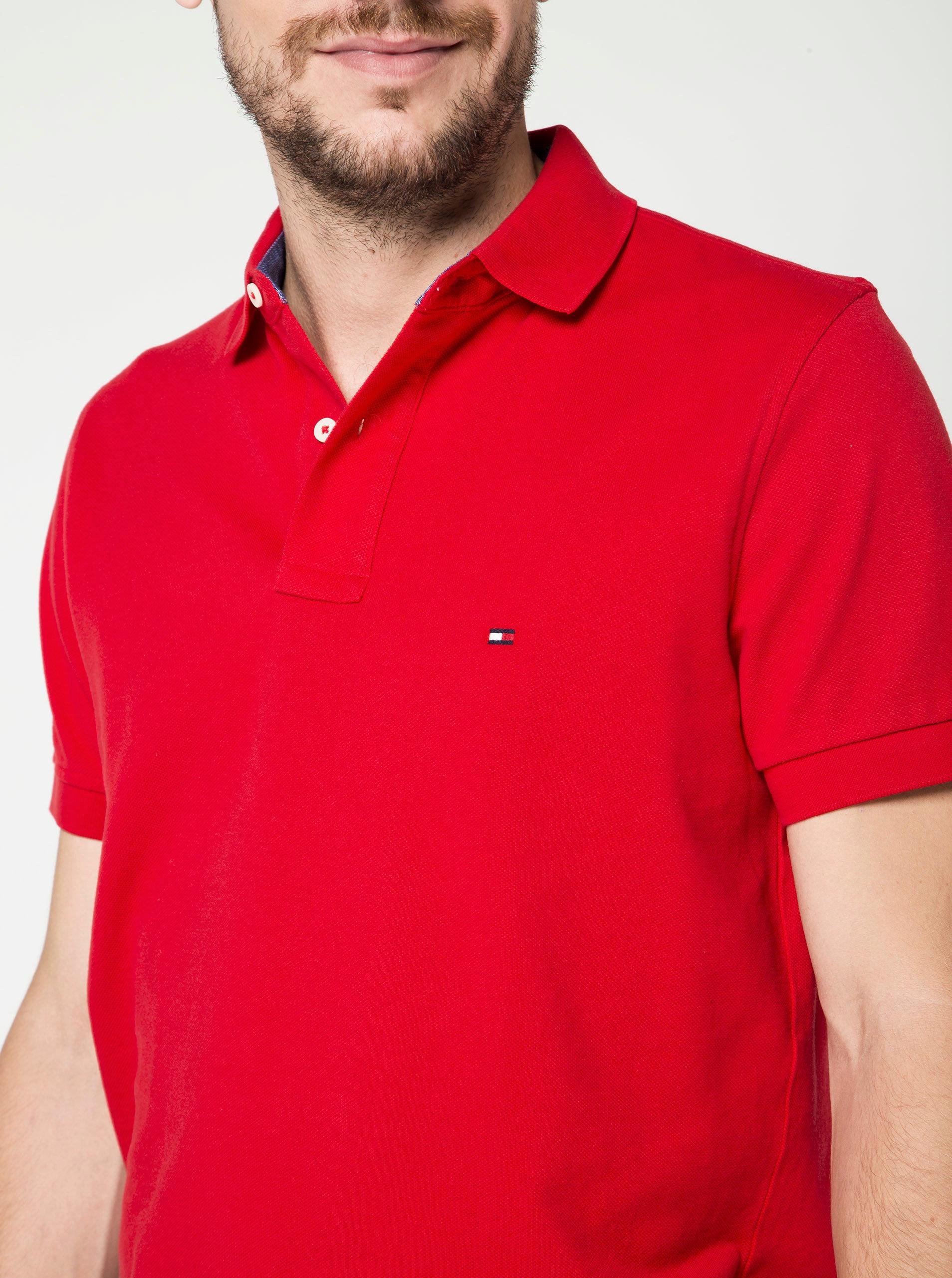 Červené pánské polo tričko Tommy Hilfiger ... 11a9cc397ef