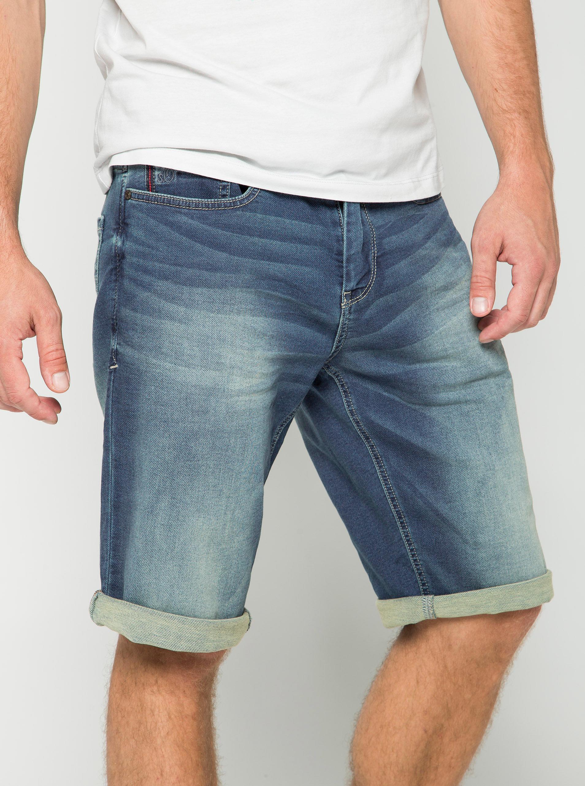 Modré pánské džínové kraťasy s vyšisovaným efektem s.Oliver  b5035e44a3