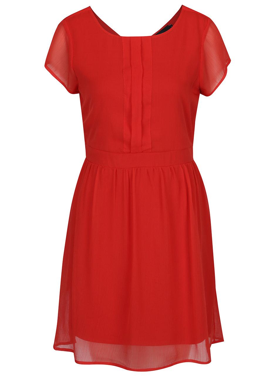 bdf31cf7ae55 Červené šaty s véčkovým výstrihom na chrbte VERO MODA Lisa ...