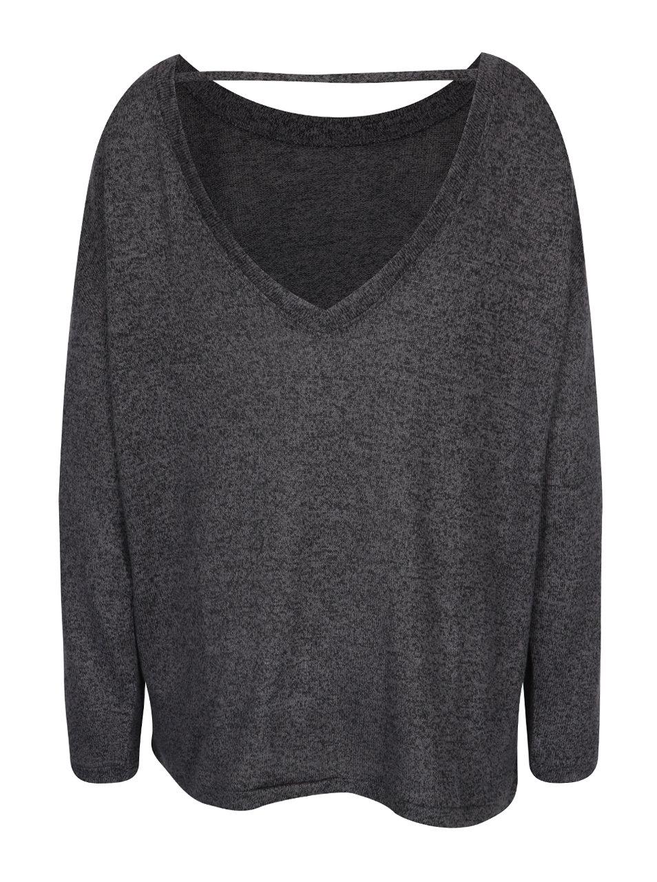 d565df276a6 Tmavě šedý žíhaný svetr s páskem na zádech VERO MODA Sadie ...