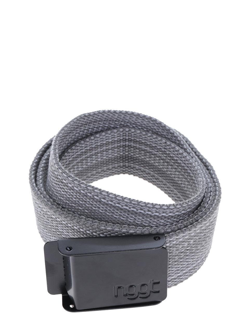 Šedý pánský žíhaný pásek s kovovou přezkou NUGGET Faux