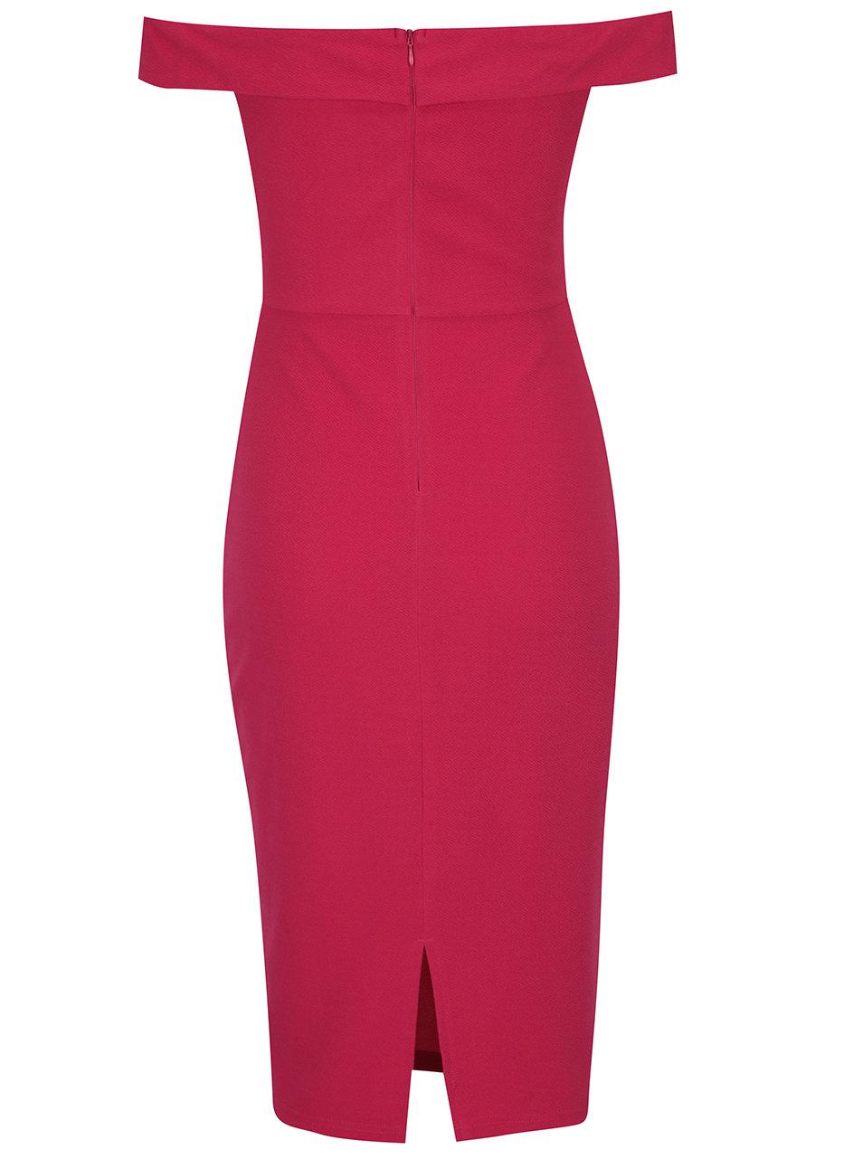 e996ef69bd80 Ružové puzdrové šaty s odhalenými ramenami AX Paris ...