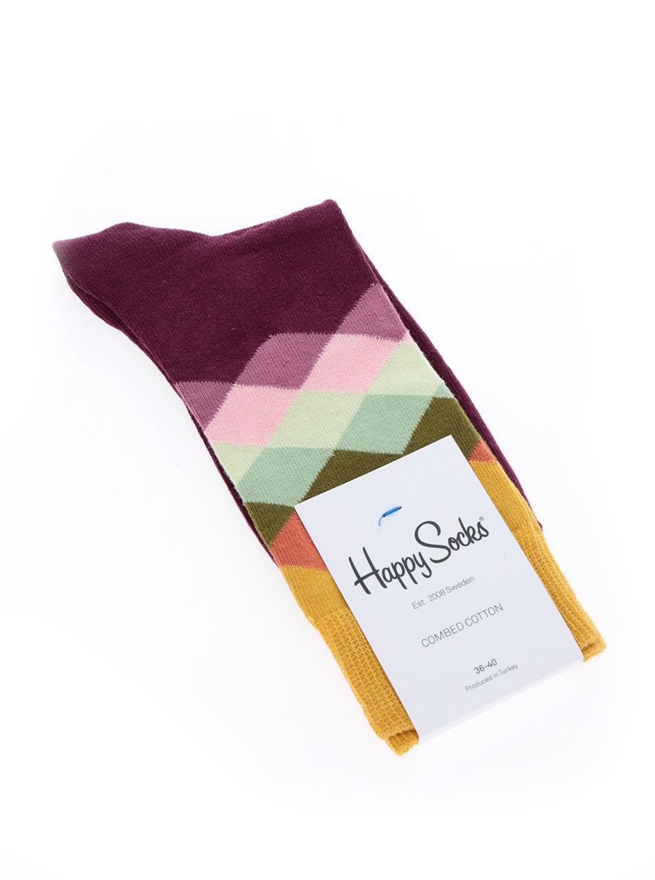 ef52b99ca641 Žluto-vínové dámské vzorované ponožky Happy Socks Faded Diamond ...