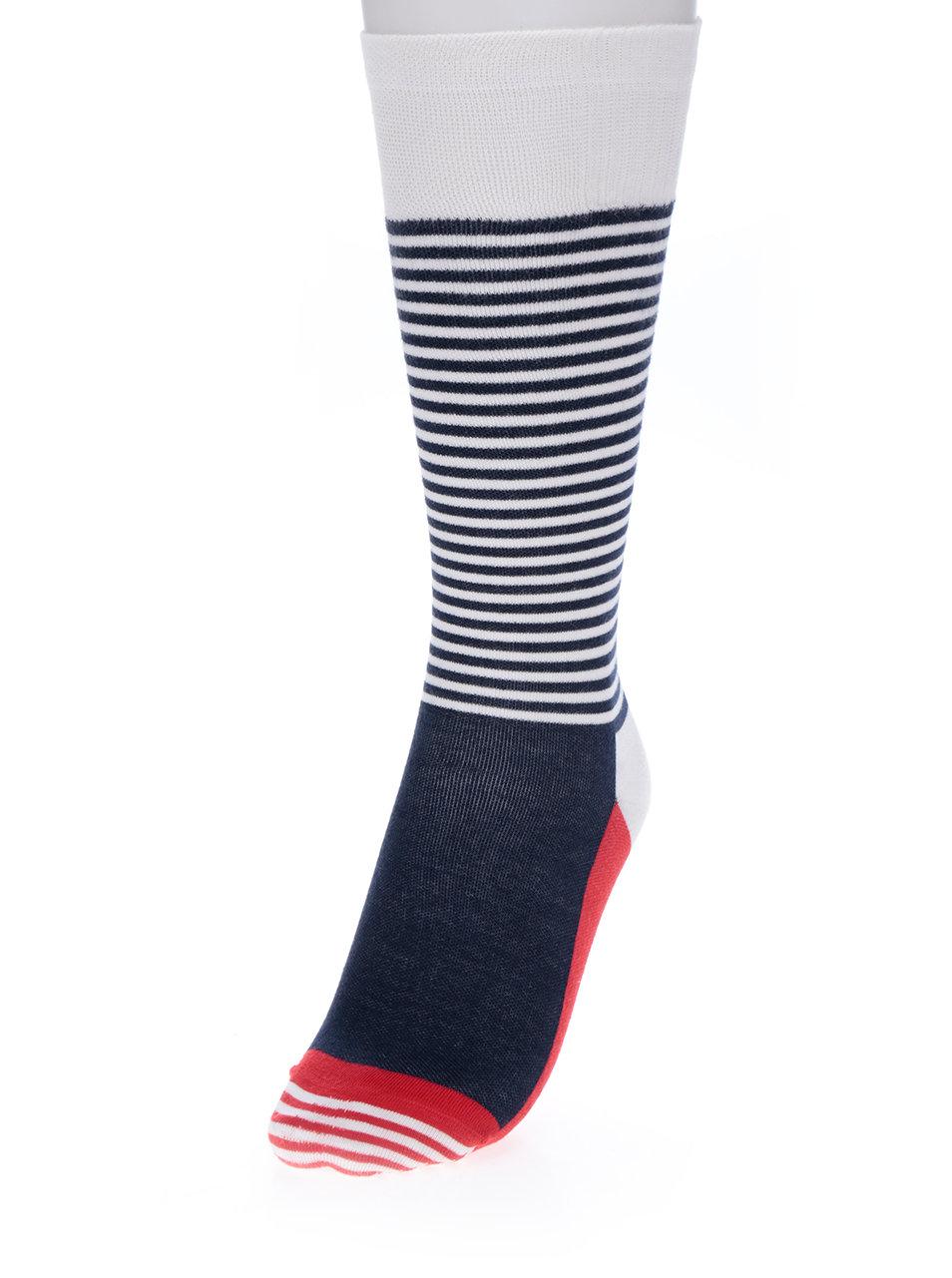 Bílo-modré unisex pruhované kompresní podkolenky Happy Socks Compression  Half Stripe ... 4d41650651