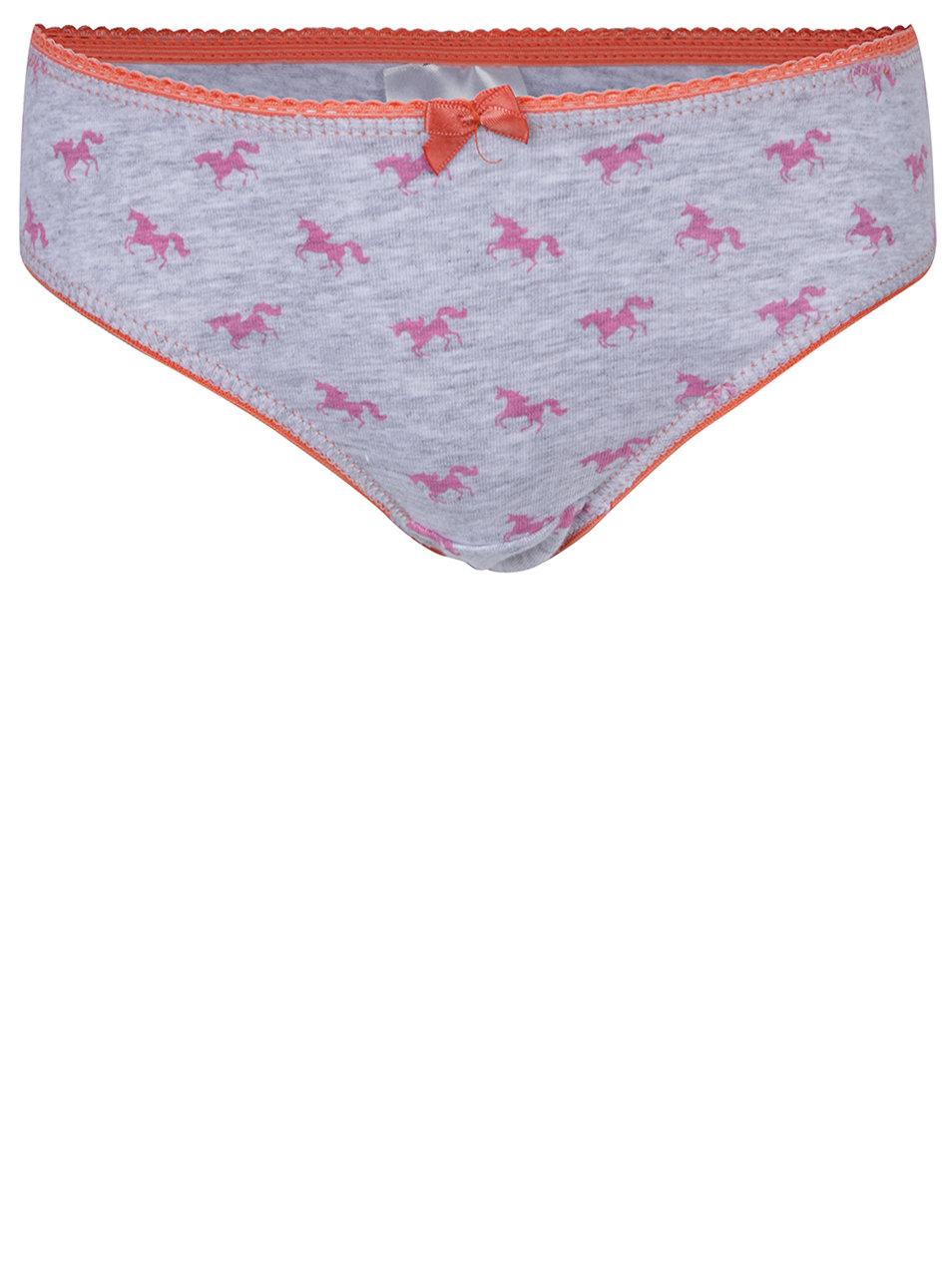 d04d4b69d61 Sada tří holčičích vzorovaných kalhotek v růžové a šedé barvě 5.10 ...