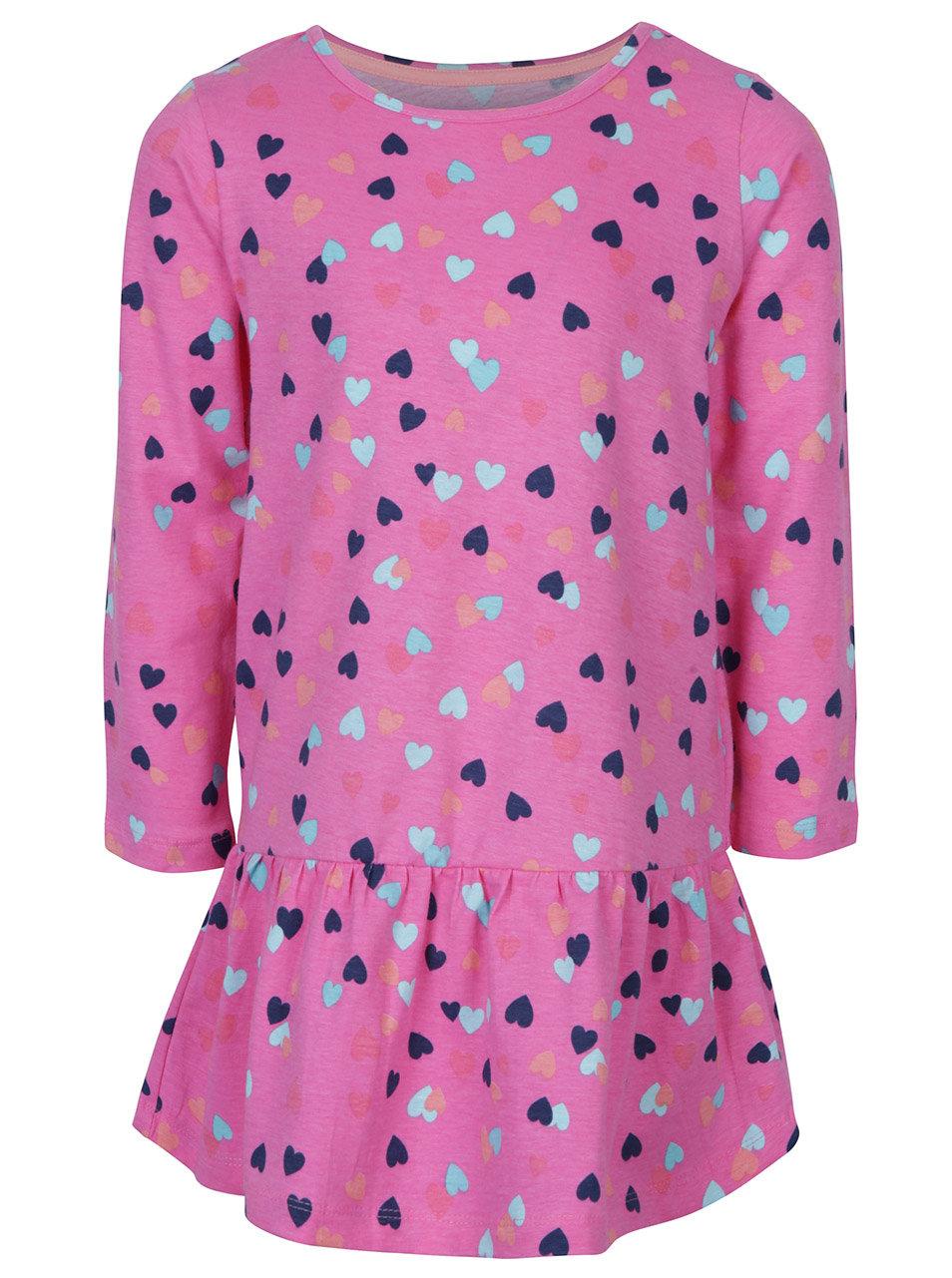 01b0e3731b93 Ružové dievčenské šaty s volánom a potlačou srdiečok 5.10.15.