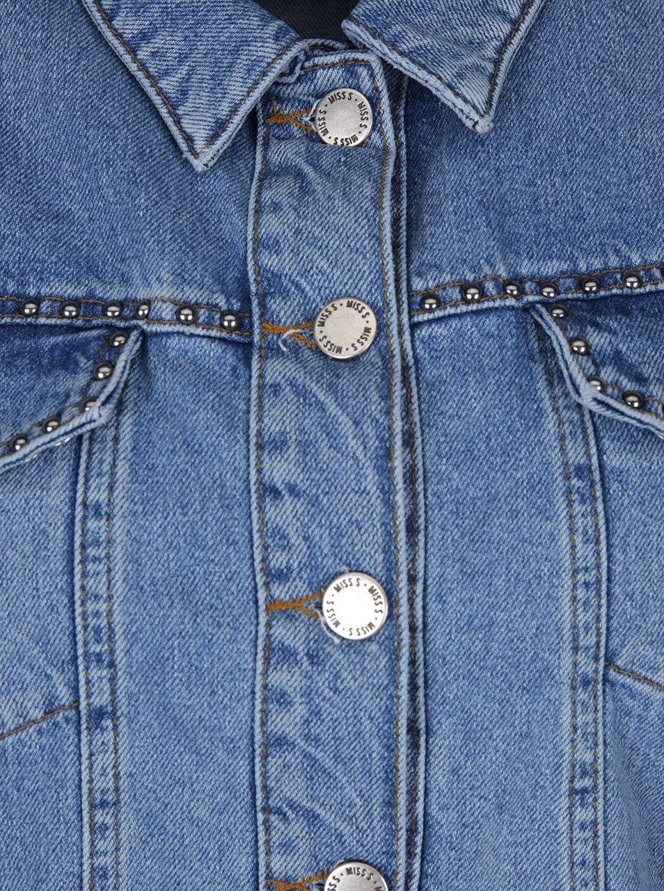 1debf30a7884 Modrá rifľová bunda s aplikáciou v striebornej farbe Miss Selfridge Petites  ...