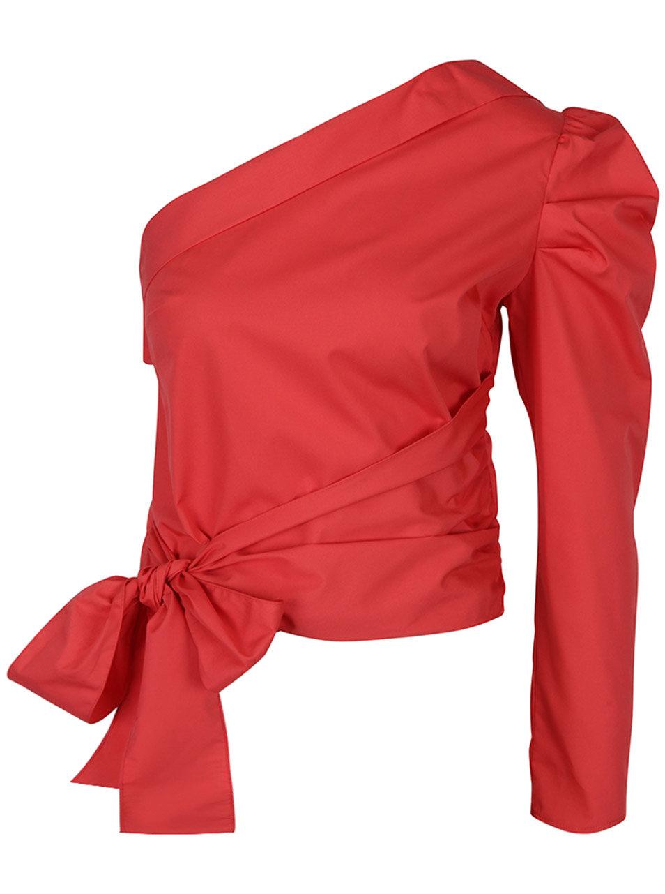ad45976aba Červená asymetrická blúzka s mašľou Miss Selfridge ...